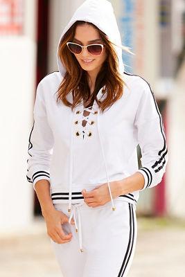 Sport lace-up racer stripe hoodie