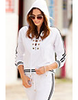 Sport Lace-up Racer Stripe Hoodie Photo
