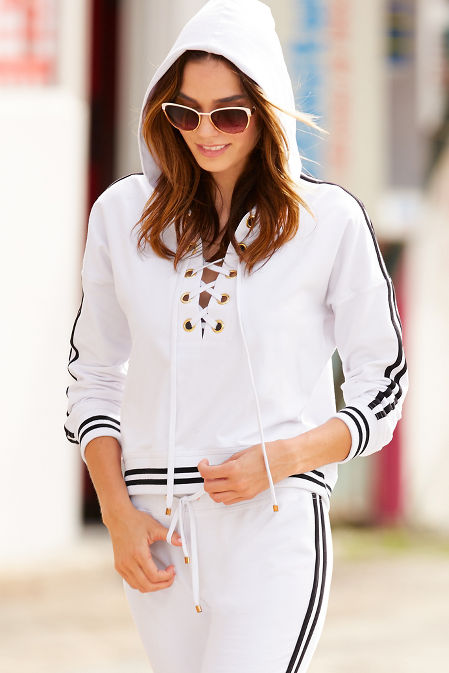 Sport lace-up racer stripe hoodie image