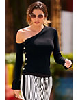 Asymmetric Shoulder Button Sweater Photo