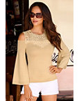 Lace Neckline Cold-shoulder Sweater Photo
