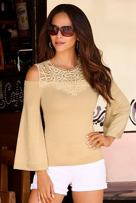Lace neckline cold-shoulder sweater