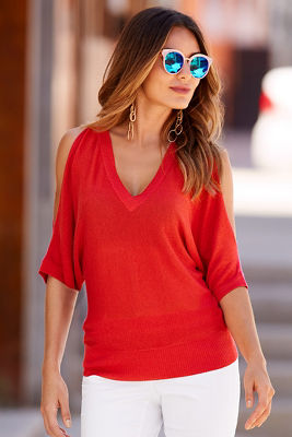 Metallic cold-shoulder sweater