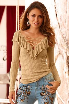 Ruffle lace-up ribbed sweater