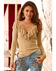 Ruffle Lace-up Ribbed Sweater Photo