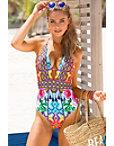 Bright Tassel Print One-piece Swimsuit Photo