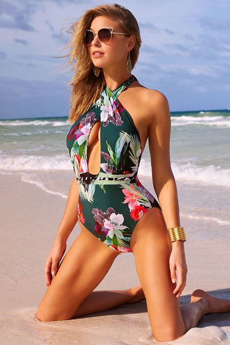 Floral crossfront one-piece swimsuit image