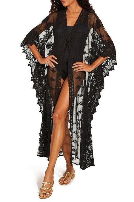 Long lace kimono swim cover-up image