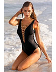 Metallic Lace-up One-piece Swimsuit Photo