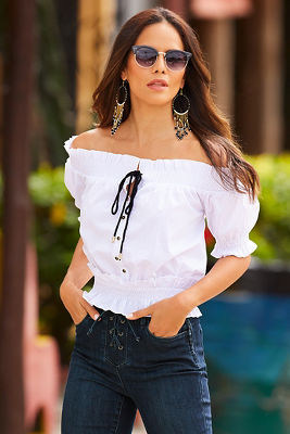 Button up tie front off-the-shoulder top