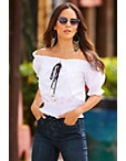 Button Up Tie Front Off-the-shoulder Top Photo