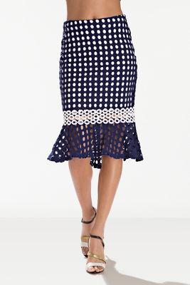 Contrast circular lace midi skirt