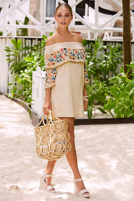embroidered and pearl off-the-shoulder dress