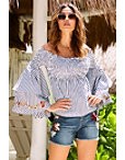 Embroidered Smock Flare Sleeve Off-the-shoulder Top Photo