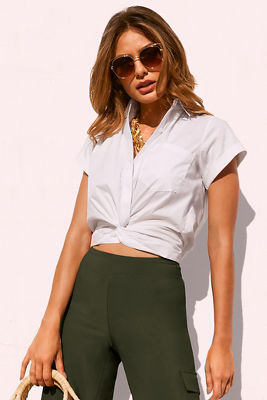 knotted short-sleeve shirt