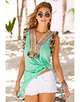 Multicolor Fringe Knot Top Photo