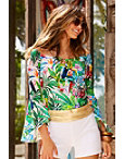 Off-the-shoulder Tropical Print Poplin Top Photo
