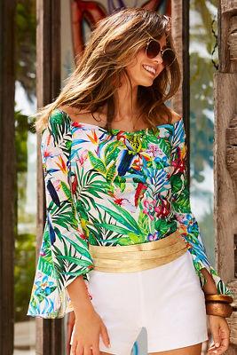 Off-the-shoulder tropical print poplin top