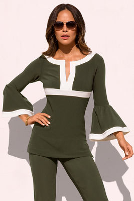 Beyond travel™ colorblock flare-sleeve top