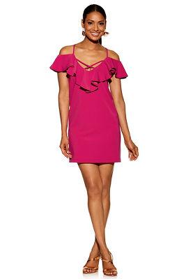 Beyond travel&#8482 cold-shoulder ruffle cross dress