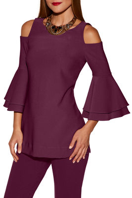 bEYOND TRAVEL™ COLD-SHOULDER TWO LAYER SLEEVE TOP