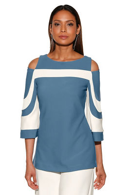Beyond travel&#8482 colorblock cold-shoulder flare-sleeve top