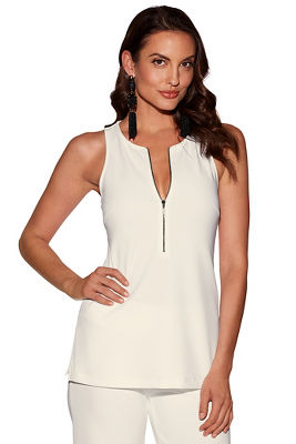 Beyond travel™ zippered sleeveless top