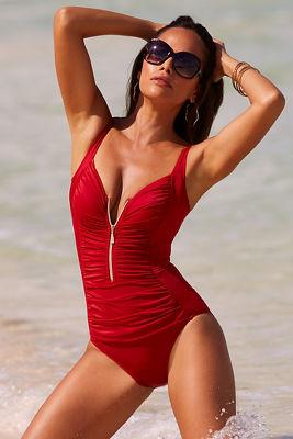 Zip front one-piece swimsuit