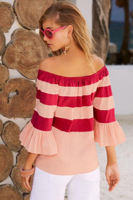 Two tone stripe poplin off-the-shoulder top image