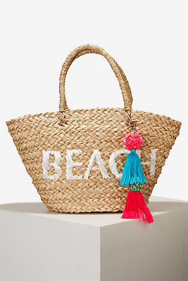Graphic fringe beach tote bag