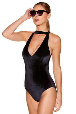 Velvet high neck one-piece swimsuit