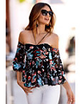 Mesh Embroidered Off-the-shoulder Illusion Top Photo