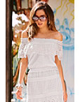 Off-the-shoulder Eyelet Blouson Top Photo