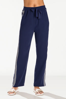 Side stripe straight leg track pant