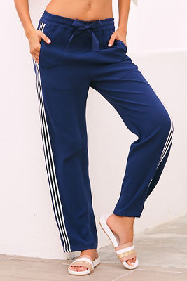 Side stripe straight leg track pant