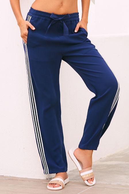 Side stripe straight leg track pant image