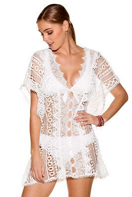 White lace swim cover-up