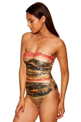 Hardware bandeau one-piece swimsuit