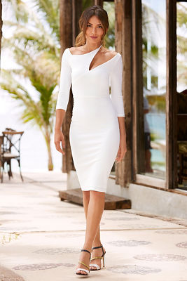 cutout three-quarter sleeve sheath dress
