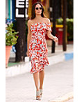 Red Floral Off-the-shoulder Flutter Dress Photo