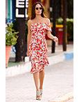 Red Floral Off-the-shoulder Flutter Dress Photo