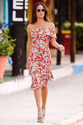 Red floral off-the-shoulder flutter dress