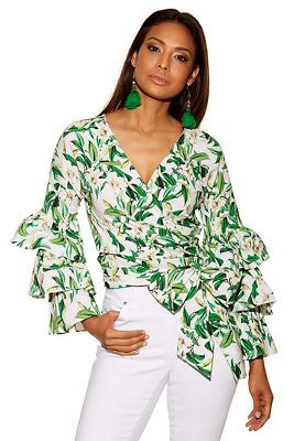 Floral blooms tiered sleeve wrap top