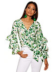 Floral Blooms Tiered Sleeve Wrap Top Photo