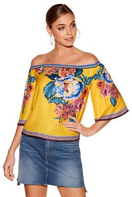 floral border print off-the-shoulder top