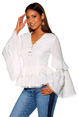 Display product reviews for Lace up tiered sleeve top