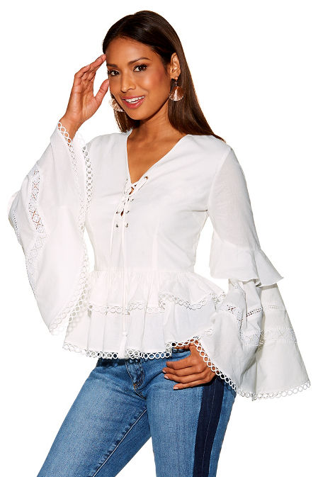 Lace up tiered sleeve top image