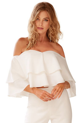 tiered ruffle off-the-shoulder top