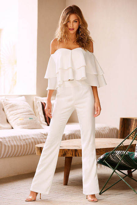 Tiered ruffle off-the-shoulder top image