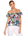 Tropical Print Off-the-shoulder Poplin Top Photo